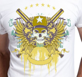 T-shirt Men Warrior Skull