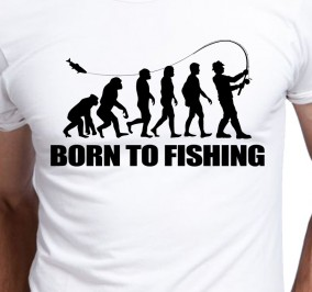 T-shirt Męski Born To Fisherman