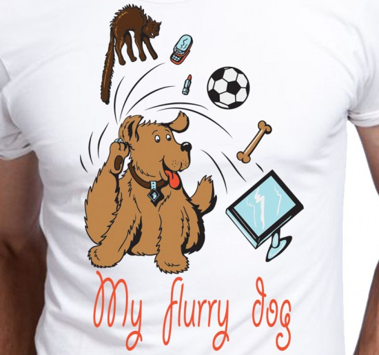 T-shirt męski Kreskówka My Flurry Dog