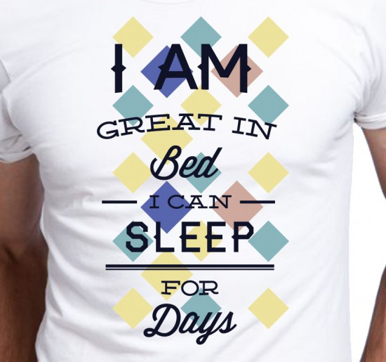 Śmieszny T-shirt męski I am great in Bed